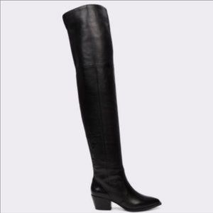Aldo Black Over The Knee Boots Leather Pointed Toe